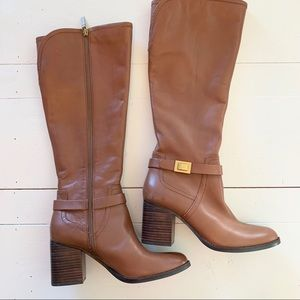 Franco Sarto 100% Leather Brown Tall Boots 8.5M